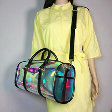 Women Large Capacity Portable PVC Shoulder Bag Holographic Weekend Luggage Tote