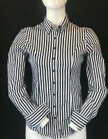 T.M. LEWIN Women's Black & White Stripe Long Sleeve Cuff Link Shirt Blouse UK 6