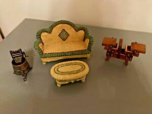 Dollhouse Vtg Lot MSR Artisan Flair Wicker Sofa Table Sewing Chest Furniture
