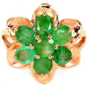 NATURAL AAA GREEN EMERALD OVAL OVAL & ROUND STERLING 925 SILVER FLOWER RING 6.75