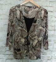 Notations Womens Blouse Top Size L Black Brown Crepe Faux 2Fer Ring Detail