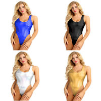 Women Wet Look Monokini High Cut Thong Leotard Tops Swimsuit Swimwear Bodysuit