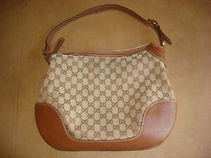 Genuine Gucci GG Canvas & Brown Leather Hand Bag Good/Fair Condition! PleaseRead