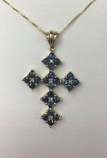 "Vintage 10K Yellow Gold 1ct Natural Blue Sapphires & Diamond Cross On 18"" Chain"