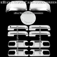 For FORD F-150 F150 2015 Chrome Covers Door Handles+Back Plates+Half Mirrors+Gas