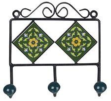 Iron & Ceramic Tile 3 Hook Hanger For Cloth Hanging Key Hanger LHR - 026