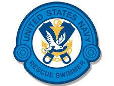 4x4 inch BLUE Rescue Swimmer Logo Shaped Sticker - us navy naval air swim scuba