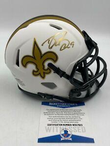 Drew Brees Signed LUNAR ECLIPSE Saints Mini Helmet AUTO BAS WITNESSED COA
