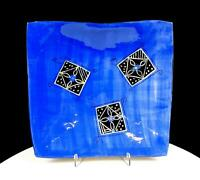 "LIZ GAMBERG SIGNED STUDIO ART POTTERY BLUE SQUARE DESIGNS 10"" SLOPED PLATE"