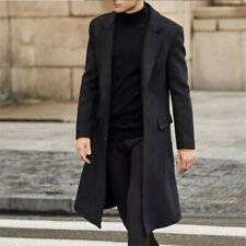 Winter Trench Coat Warm Long Wool Coat Jacket Formal Outwear Mens Overcoat Thick