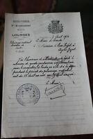 1926 maire de lourdes lettre autographe maintien de l'ordre pélerinage RELIGION