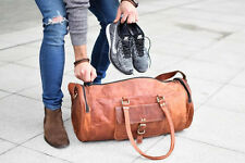 New Men's genuine Brown Leather Retro vintage Big Round duffle travel gym bag