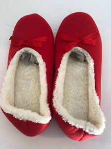 Womens  Bow Slippers Red, XL