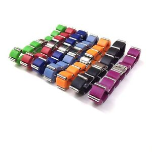 SARTEGO Silver Tone Stainless Steel Colorful Bright Color Rubber Bracelet Chain