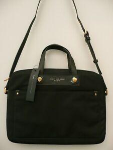 "New GENUINE MARC JACOBS 13"" 14"" LAPTOP COMPUTER BAG Crossbody BLACK Gold Handbag"