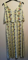 Marks & Spencer collection summer wedding maxi pale yellow Floral dress UK Sz 14