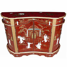 MOTHER OF PEARL ORIENTAL FURNITURE - MOTHER OF PEARL RED LACQUER SIDEBOARD