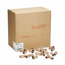 1000-Pack Tubular Preformed Kraft COIN WRAPPERS Sorter QUARTERS Roll Sorter Box