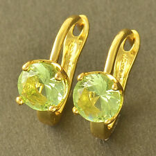 Fashion Apple Green CZ Yellow Gold Filled Round Womens U-Shape Earrings