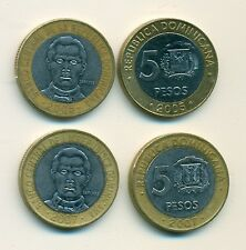 2 BI-METAL 5 PESO COINS from the DOMINICAN REPUBLIC (2005 & 2007)