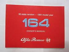 Alfa Romeo 164 Owners Manual 1991 Model Year