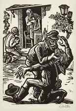 Der HARTHERZIG SCHULDNER - JESUS & Das GELD -BARTH-UCHATZKY sign.OrigHolzschnitt
