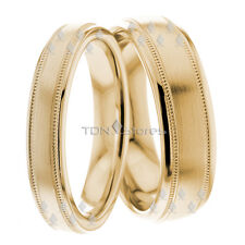 Gold Matching Wedding Yellow Set His Hers Bands Rings Mens Womens Band Ring Sets