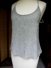 VTG LIZ 100% Silk TANK CAMI covered W/seed beads floral Style Hi Quality  10