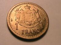 Monaco 1945 (nd) 1 Franc Ch BU+ WWII Era France French Coin