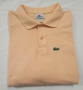 Mens Lacoste Polo Shirt Size 6/ XL Short Sleeve Cotton Peach - EUC