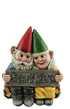 dwk - growing old together - garden gnome couple in love collectible figurine b