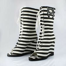 Chanel Striped Heeled Boots Size 38