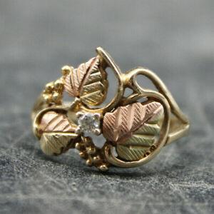 BEAUTIFUL Black Hills Gold CCO 10K Yellow Gold Leaf & Diamond Ring Size 7