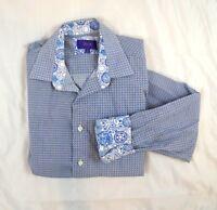 Tallia Mens Long Sleeve Geometric Size M 15.5 Blue White Flip Cuff Casual Shirt