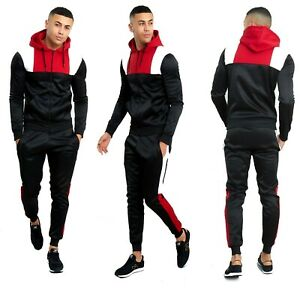 Fashions Mens Scuba Polyester Tracksuit Set New Contrast Cord Hoodie Top Bottoms