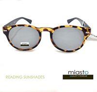 NWT$39.99 MIASTO RETRO ROUND SUN READER READING SUNGLASSES SHADES+1.50 TORTOISE