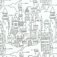 Sarah jane castle plans blanc michael miller tissu fq ou plus 100% coton