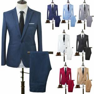 Men Formal Blazer + Pants Set Slim Fit Business Dress Suit Tuxedo Party Wedding
