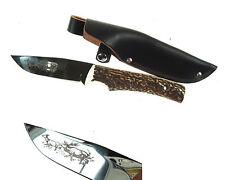 Hand Made Hunters Knife Engraved Blade Large Deer Antler Handle Sharp Nr7185