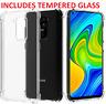 For Xiaomi Redmi Note 9 Clear Case Slim Gel Cover & Glass Screen Protector