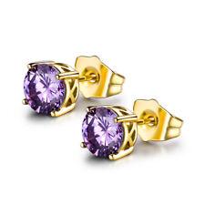 HUCHE Fashion Purple & Gold Filled Amethyst Gemstone Women Party Studs Earrings