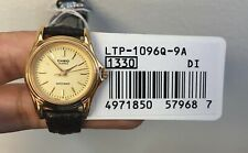 Casio LTP1096Q-9A Women's Leather Strap Fashion Gold Dial Analog Quartz Watch