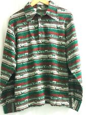 Vtg Queens Way to Fashion Shirt Knit Top Moose Red Green Nordic Pointed Collar