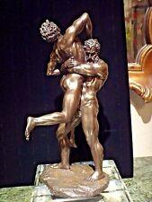 HERCULES and ANTAEUS nude male statue sculpture BRONZE men wrestling