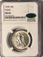 1938 Texas Silver Commemorative Half Dollar - NGC  MS-66 CAC - Mint State 66 CAC
