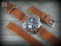 Cinturino in Pelle LS CUOIO VINTAGE LARGE 24 mm Watch Strap Band Miele bruciato