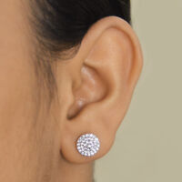 14K White Gold Over 925 Sterling Silver Round Cut Womens Diamond Stud Earrings