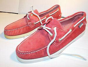 Mens Sebago Docksides Boat Deck Shoes Red Suede UK 8.5 EU 43 Lace Up