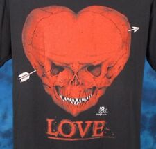 vintage 80s SKULL HEART LOVE PAPER THIN T-Shirt LARGE biker skeleton rock punk