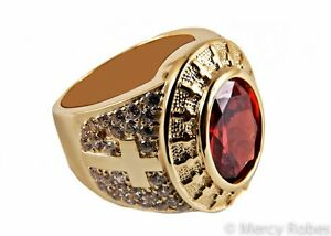 New Men's Clergy Ring (Subs806 G Red), Apostle, Gold Plated/Sterling, Christian